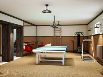 Aménagements du sous-sol en salle de jeux