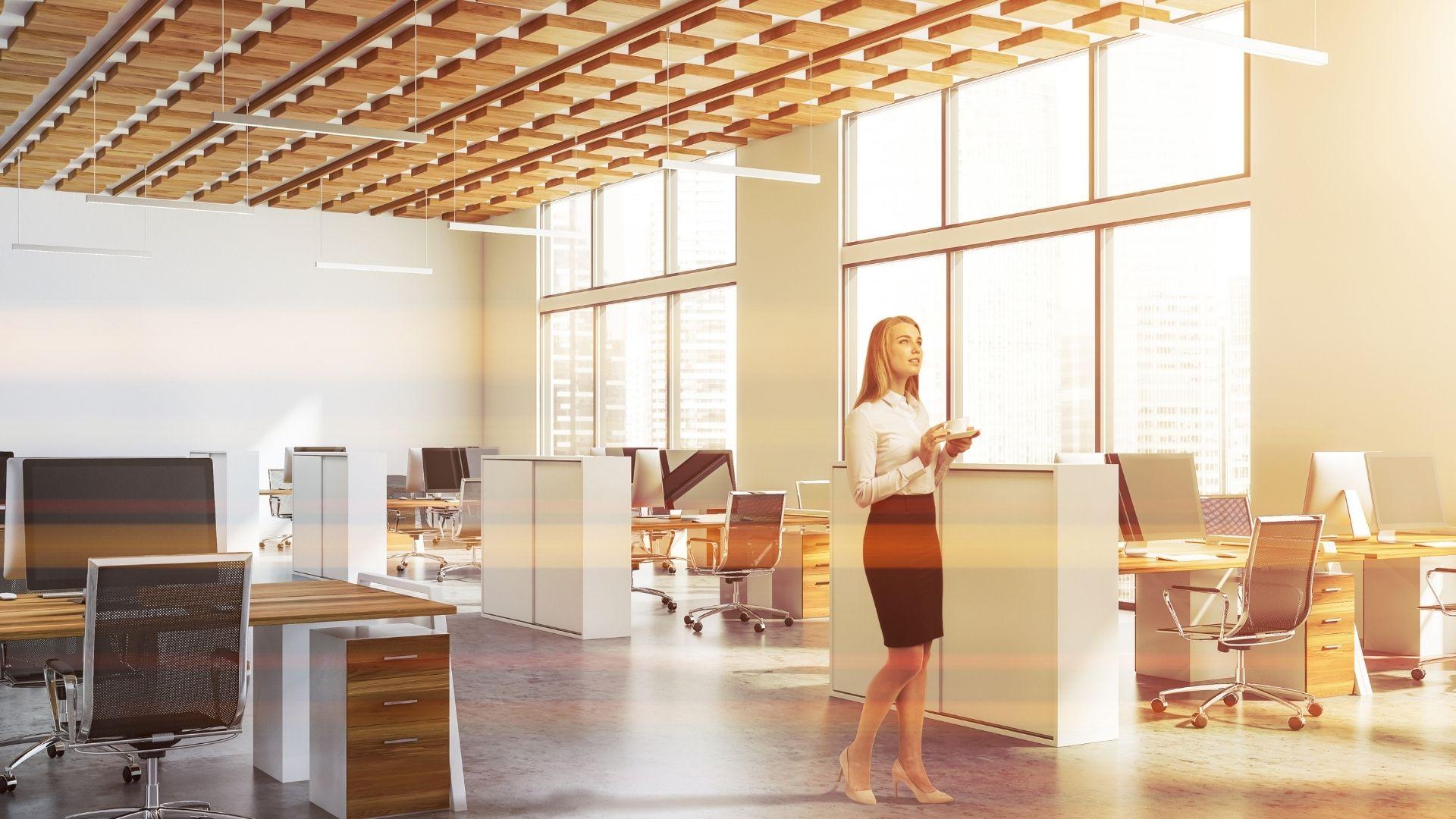 Open space avec plafond à isolation phonique