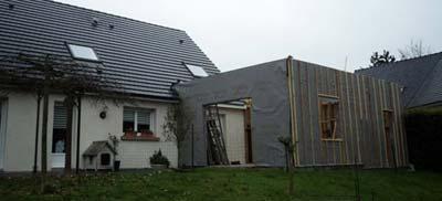 Travaux d'agrandissement de maison en ossature bois